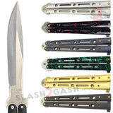 "JUMBO Butterfly Knife Giant 10"" Balisong Large 5 Hole Pattern - Green Marble"