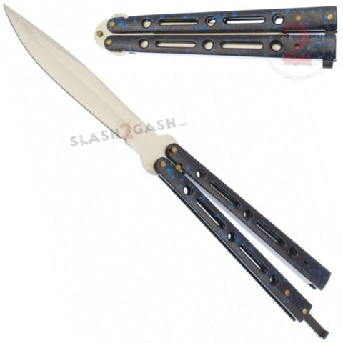 "JUMBO Butterfly Knife Giant 10"" Balisong Large 5 Hole Pattern - Blue Marble"