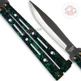 "JUMBO 5 Hole Pattern Butterfly Knife Giant 10"" Balisong Large - Green Marble"