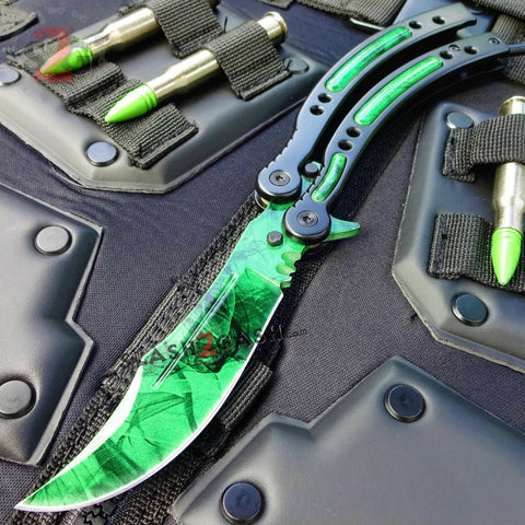 CSGO Green Gamma Doppler Emerald Butterfly Knife SHARP 440C Counter Strike Tactical Balisong CS:GO
