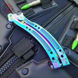 CSGO Titanium Rainbow Butterfly Knife SHARP 440C Counter Strike Tactical CS:GO Balisong