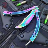 Rainbow CSGO Butterfly Knife TRAINER Dull Spring Latch PRACTICE CS:GO Counter Strike Balisong