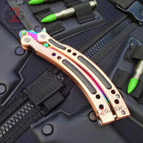 CSGO Rainbow Butterfly Knife SHARP 440C Counter Strike Tactical CS:GO Balisong - Bronze
