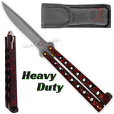 Heavy Duty Classic Butterfly Knife Thick 7 Hole Balisong - Marble Red Splatter Plain