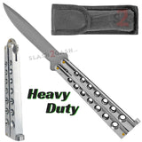 Heavy Duty Classic Butterfly Knife Thick 7 Hole Balisong - Shiny Silver Chrome Plain