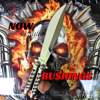 TheONE Butterfly Knife w/ BUSHINGS 440C Channel Balisong - Satin 42