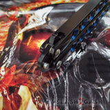 The ONE Balisong Benchmade 4x Clone Butterfly Knife Channel w/ BUSHINGS spring latch Black 42 Blue Holes