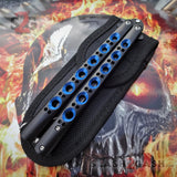 The ONE Balisong Benchmade 4x Clone Butterfly Knife Channel w/ BUSHINGS spring latch Black 42 Blue Holes Nylon Sheath
