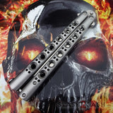 TheONE Butterfly Knife with BUSHINGS 440C Channel Balisong - Satin 42 Plain with Spring Latch