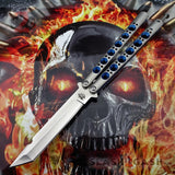 TheONE Butterfly Knife 440C Tanto Blue Holes Balisong Channel Construction Best Version Spring Latch