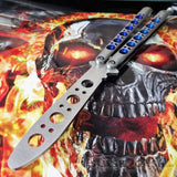 TheONE Butterfly Knife Blue Holes Channel Balisong Practice - Trainer/Training Spring Latch Dull No Edge