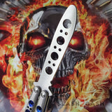 TheONE Practice Butterfly Knife Channel Balisong - Trainer/Training Blue Holes and Spring Latch Dull