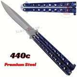 Marble Blue Butterfly Knife Classic 7 Hole 440c Premium Steel Riveted Flip Balisong