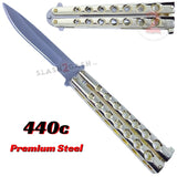 Classic 7 Hole Butterfly Knife 440c Premium Steel Flip Balisong - Shiny Gold