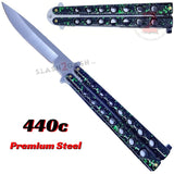 Classic 7 Hole Butterfly Knife 440c Premium Steel Flip Balisong - Marble Green