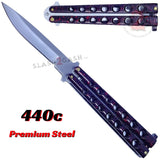 Classic 7 Hole Butterfly Knife 440c Premium Steel Flip Balisong - Marble Red
