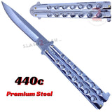 Classic 7 Hole Butterfly Knife 440c Premium Steel Flip Balisong - Shiny Silver