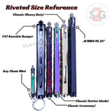 Heavy Duty Classic Butterfly Knife Thick 7 Hole Balisong - Blue Splatter Riveted Size Chart