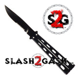 Riveted Premium Butterfly Knife HEAVY Taiwan Serrated Balisong 4mm Blade Black