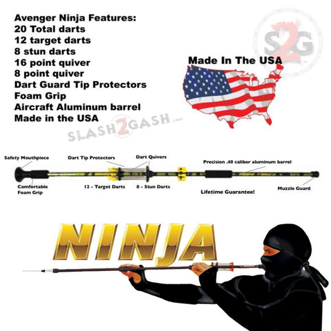 Ninja Blowguns w/ 20 Darts .40 Cal Avenger - Black, Pink, Purple, Green and Urban Camouflage 18 24 36, 2PC 48""