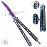 Butterfly Knife Rainbow TRAINER Dull Balisong w/ Spring Latch