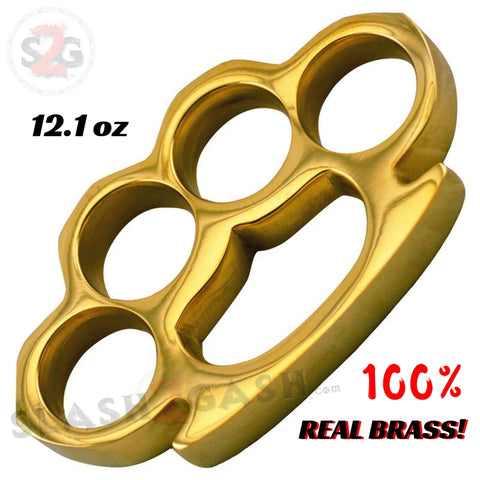 100% Real Brass Knuckles - 12.1 oz Solid Brass Paperweight Knuckle Duster Slash2Gash S2G