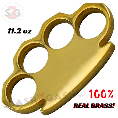 100% Real Brass Knuckles - 11.2 oz Solid Brass Paperweight Knucks Duster