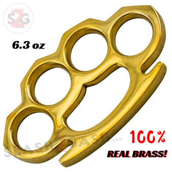 100% Real Brass Knuckles - 6.3 oz Solid Brass Paperweight