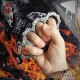 Bike Chain Link Knuckles Heavy Duty Motorcycle Biker Paperweight - Large Antiqued Silver
