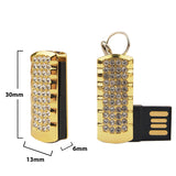 Fashion Mini Crystal Keychain Jewelry USB Flash Memory Drive 4 Colors Pink Blue Gold Silver