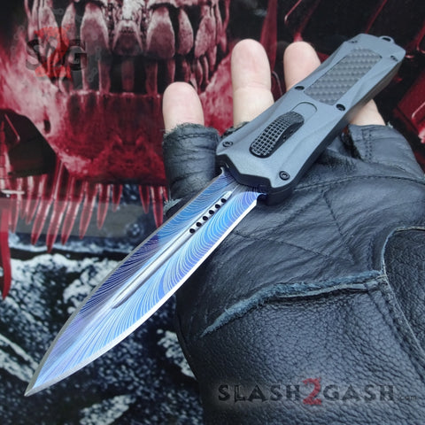 Spartan OTF Knife Grey w/ Blue Spectrum Carbon Fiber - Spear - Delta Force Switchblade Knives *Limited Edition*
