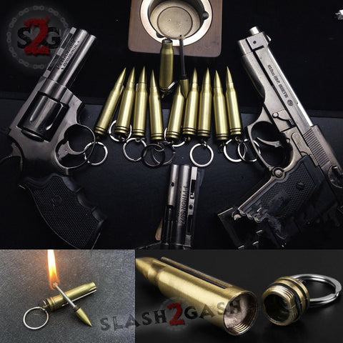 Bullet Fire Starter - Emergency Permanent Match Survival Key Chain Flint Camping Kerosene Lighter