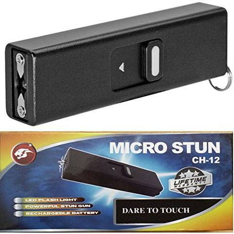 Micro USB Slider Mini Keychain STUN GUN w/ LED Rechargeable Black