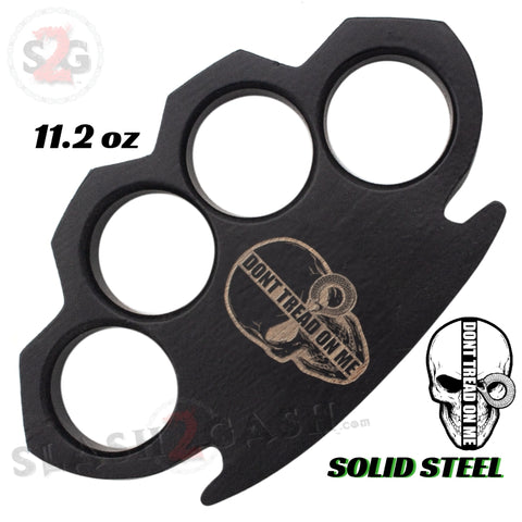 Don't Tread On Me - Steam Punk Skull Knuckles Solid Black Steel Paper Weight - 11.2 oz Heavy Knuckle Duster