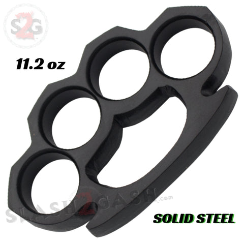 Steam Punk Knuckles Solid Black Steel Open Paper Weight - 11.2 oz Large Knuckle Duster