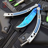 Blue Slaughter Butterfly Knife CSGO Balisong SHARP 440C Tactical Knives w/ Spring Latch