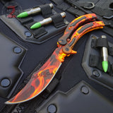 Flame CSGO Butterfly Knife SHARP 440C Counter Strike Tactical Balisong