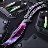 CSGO Galaxy Butterfly Knife SHARP 440C Counter Strike Tactical Balisong