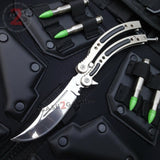 Silver Chrome CSGO Butterfly Knife SHARP 440C Counter Strike Tactical Balisong Champagne