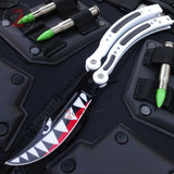 CSGO Spit Fire Shark Butterfly Knife SHARP 440C Counter Strike Tactical Balisong