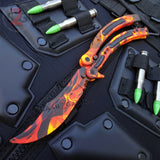 Flame CSGO Butterfly Knife TRAINER Dull Spring Latch Practice Balisong