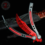 Red Slaughter CSGO Butterfly Knife TRAINER Dull Spring Latch PRACTICE Balisong