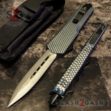 Carbon Fiber OTF Knife D/A Switchblade - REAL Layered Damascus - Delta Force Automatic Knives Dagger Plain