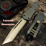 Carbon Fiber OTF Knife D/A Switchblade - REAL Layered Damascus - Delta Force Automatic Knives Tanto Plain