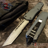 Carbon Fiber OTF Knife D/A Switchblade - REAL Layered Damascus - Delta Force Automatic Knives Tanto Serrated