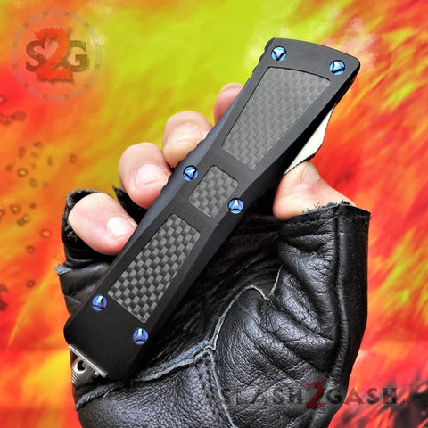 Dark Knight VG-10 OTF Knife Carbon Fiber Blue Screws - Tanto Extreme Automatic Switchblade