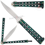 Classic Economy Butterfly Knife Stainless Steel Balisong 7 Hole w/ Rivets - Green Marbled
