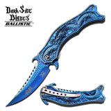 Dragon Blue Mirror Spring Assisted Knife w/ 3D Engraved Scales Dark Side
