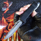 "Damascus OTF Switchblade Knife D/A Small 7"" Delta Force Bullet HK Automatic Knives - Single Edge slash 2 gash"