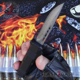 "Damascus OTF Switchblade Knife D/A Small 7"" Delta Force Bullet HK Automatic Knives - Single Edge slash2gash"